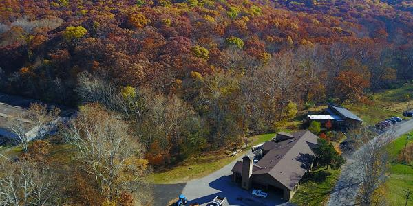 Aerial shot of Tyson Research Center in the fall